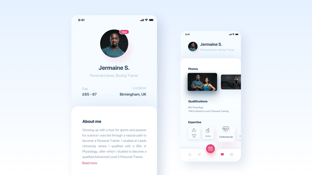 Workout mobil app design